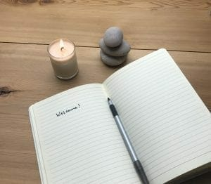 open notebook and candle for writing prompts